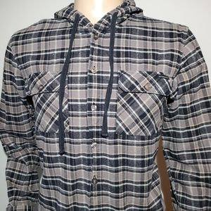 Mens Hooded Oakley Medium Button Down Shirt Plaid